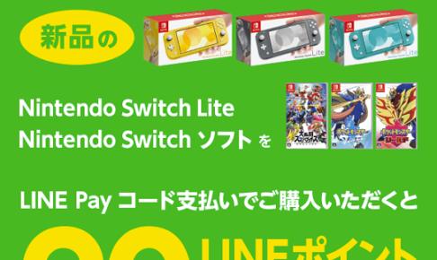 Nintendo Switch Liteの20%ポイント還元キャンペーンの画像